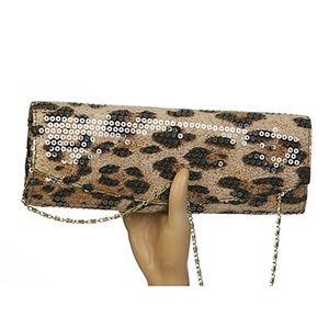 Jessica McClintock Leopard Clutch Evening Bag